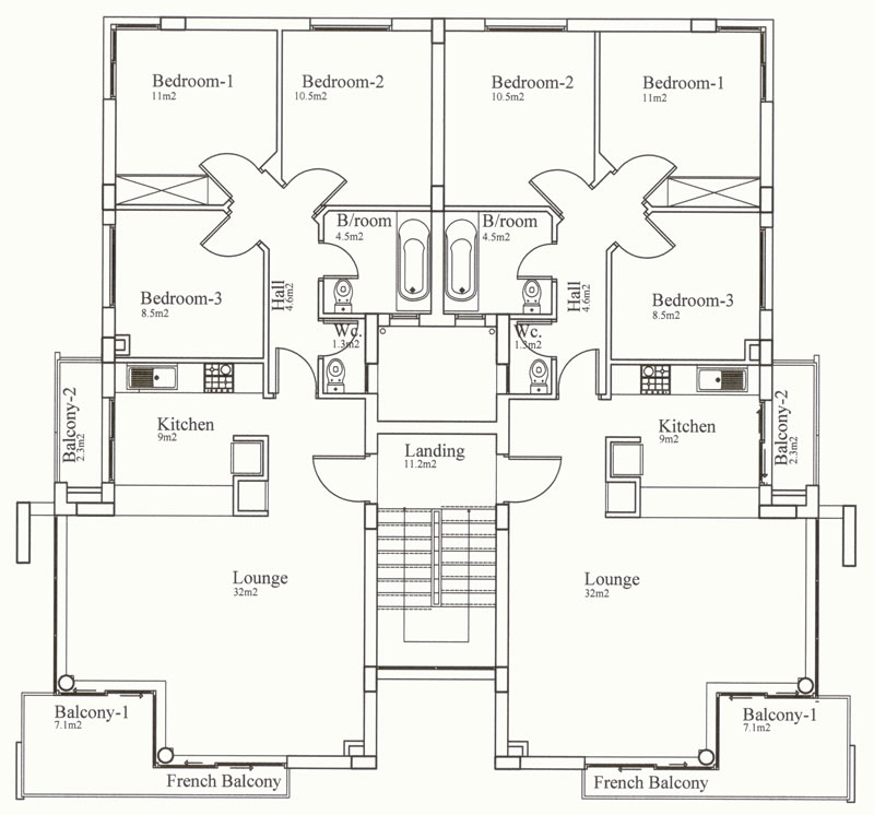 North cyprus apartment property kyrenia court suites iv v for Three bedroom apartment plan